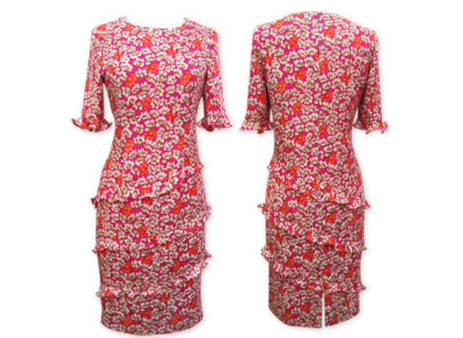 Handmade designer red floral dress
