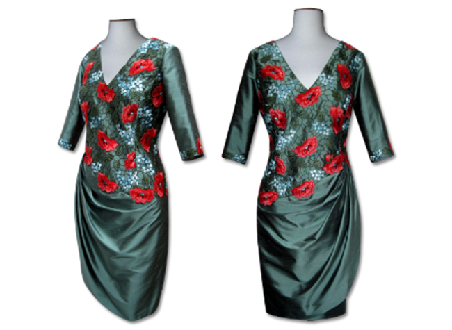 Handmade designer green floral dress