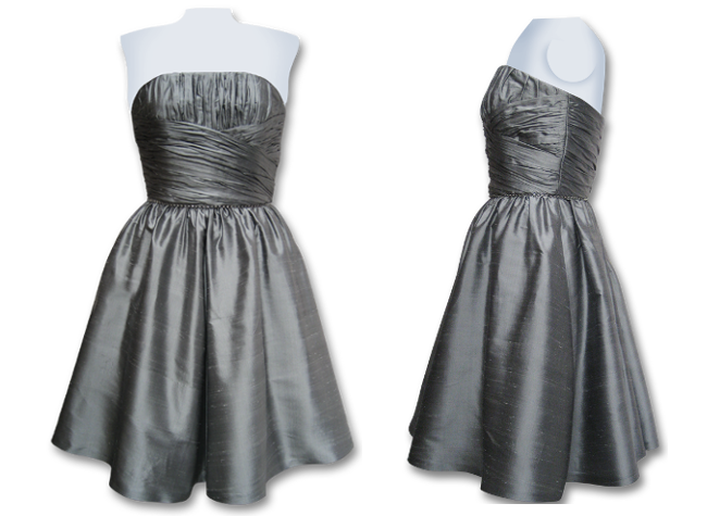 Handmade designer silver evening dress