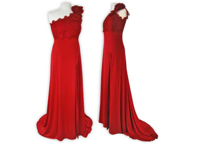 Handmade designer red evening dress