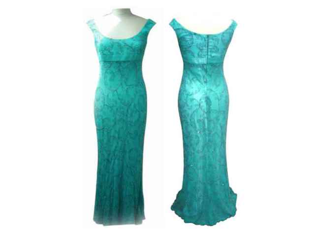 Handmade designer blue-green evening dress