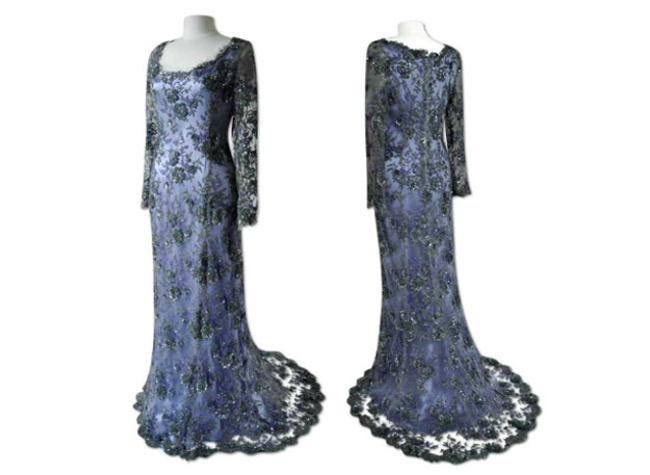 Handmade designer blue and black evening dress