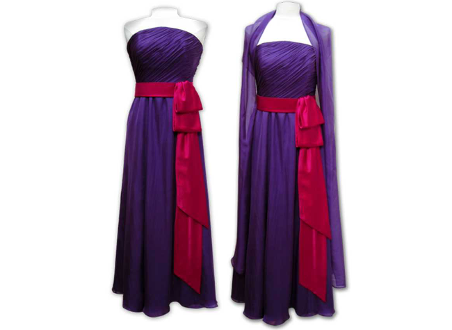 Handmade designer purple evening dress
