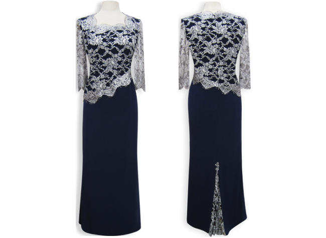 Handmade designer navy blue evening dress