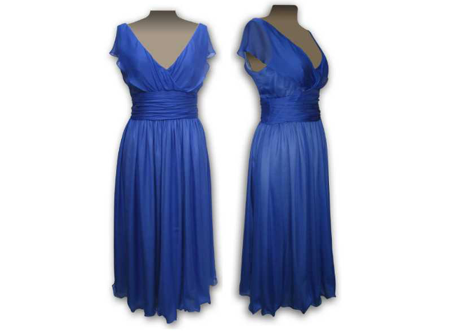 Handmade designer blue evening dress