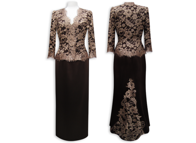 Handmade designer black and gold evening dress