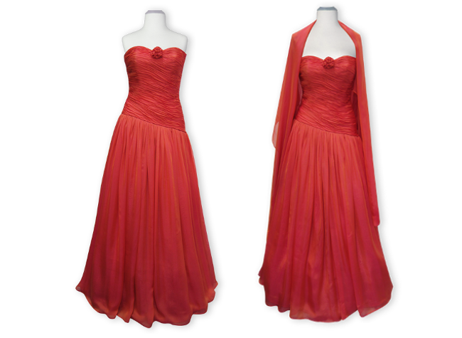 Handmade designer red evening dress with shawl