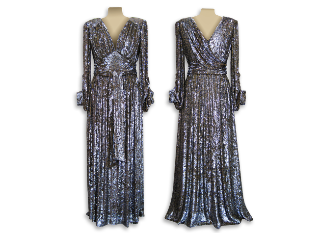 Handmade designer sequined evening dress