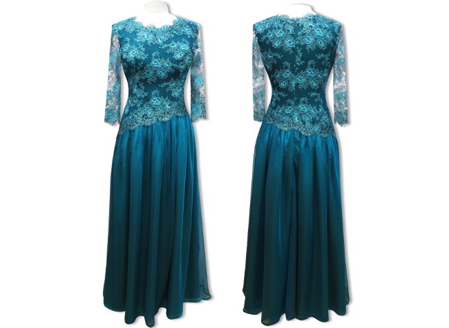 Handmade designer green-blue evening dress
