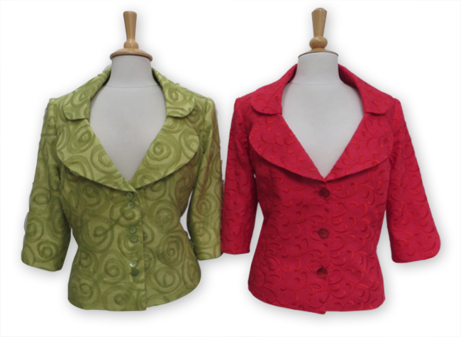 Handmade green and red coats